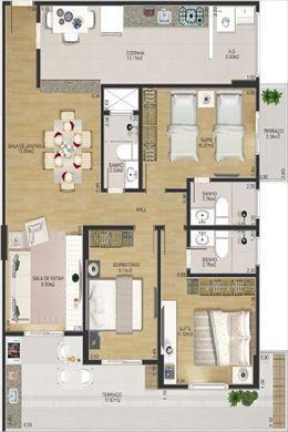Apartamento de 3 dormitórios em Cidade Ocian, Praia Grande - SP