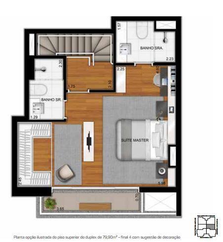 Planta Duplex Superior Opção - 79,90 m²