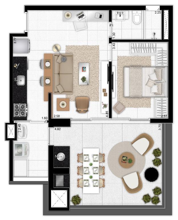 Planta Opção do Apto de 64 m²
