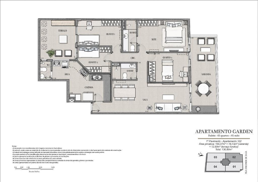 Planta Unidade 102 - 130 m²