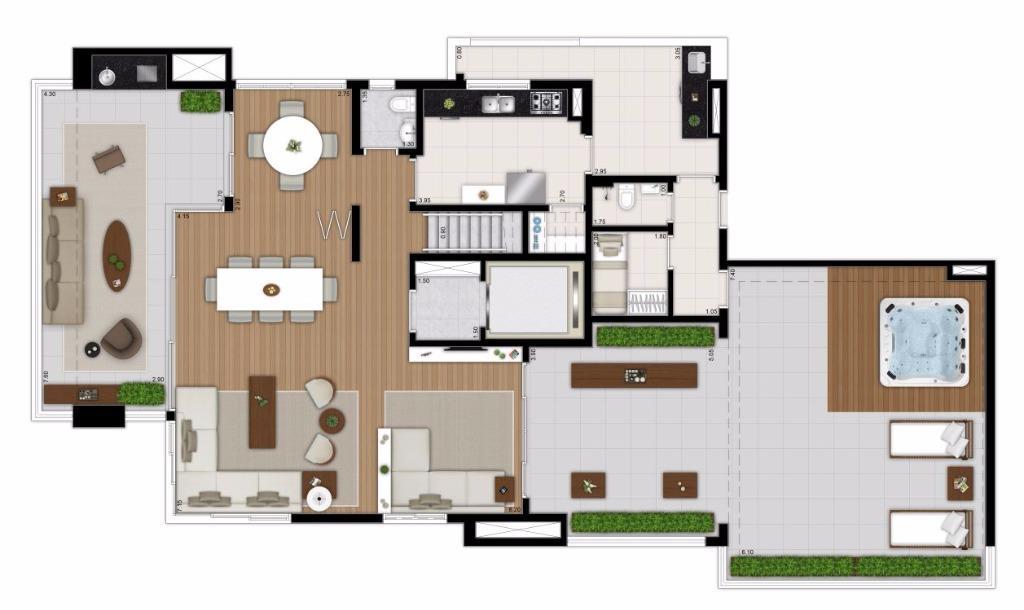 Planta Duplex Inferior Rotacionada - 377 m²