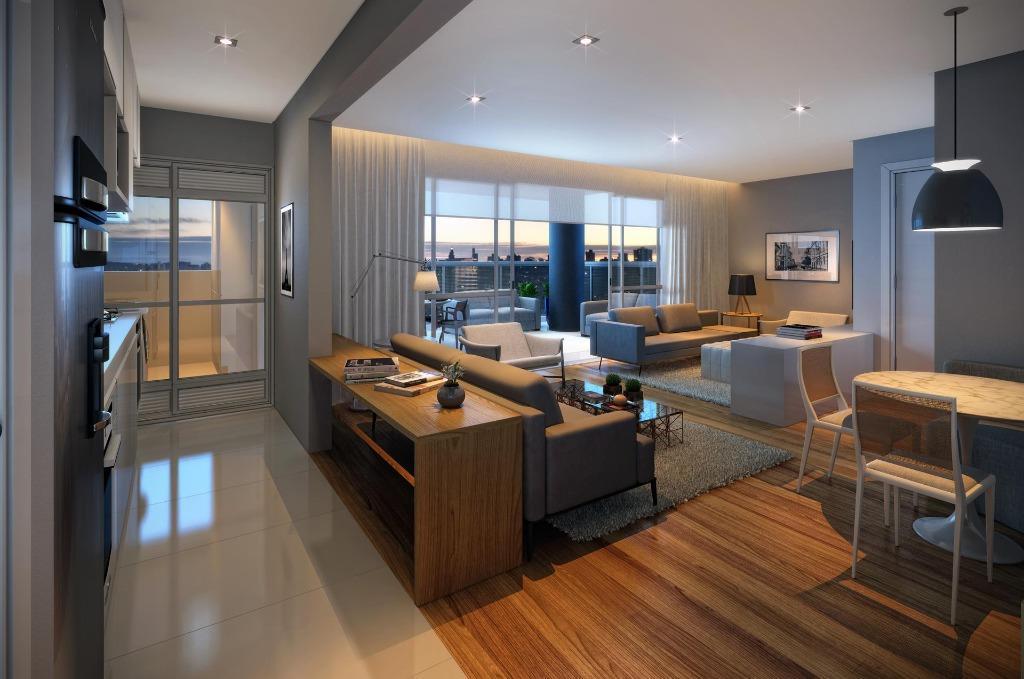 Perspectiva do Living Ampliado do Apto de 90 m²