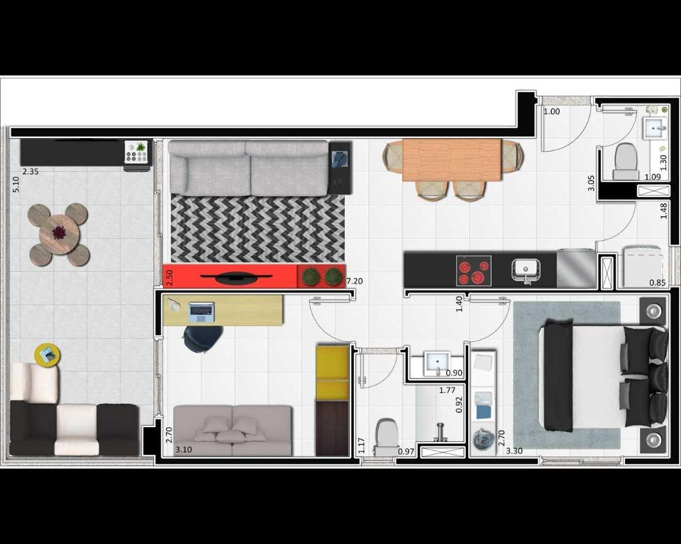 Planta tipo B - 63,40m² - 2 dormitórios