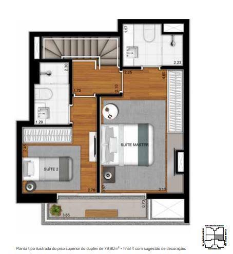 Planta Duplex Superior - 79,90 m²