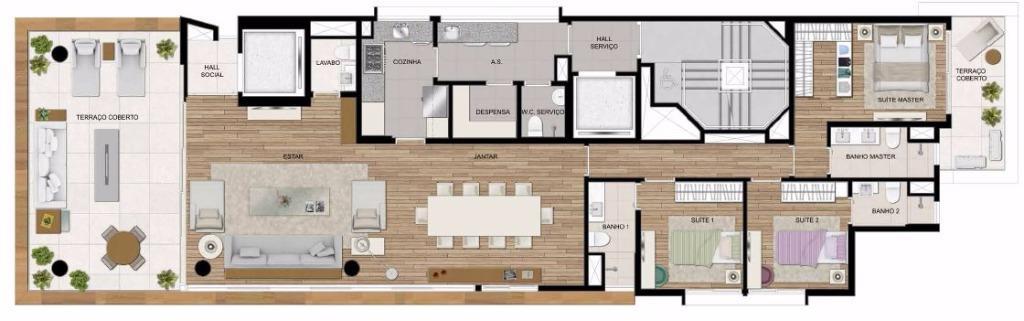 Planta da Unidade de 206 m² - Living Ampliado