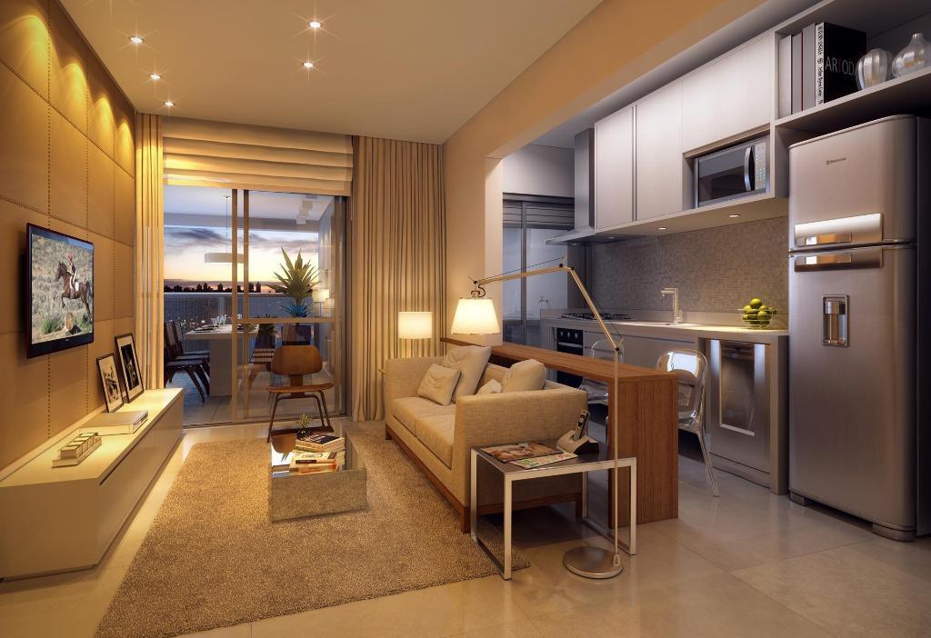 Perspectiva do Living do Apto de 64 m²