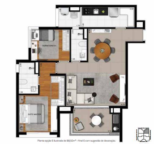 Planta Opção 6 - 88,50 m²