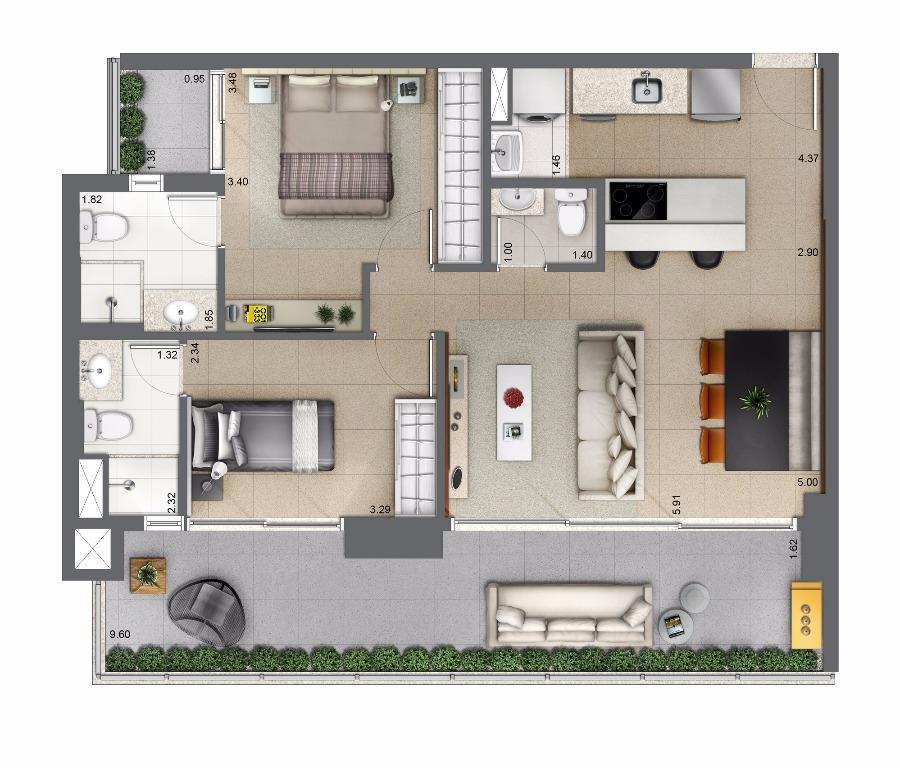 Planta Tipo 81 m²