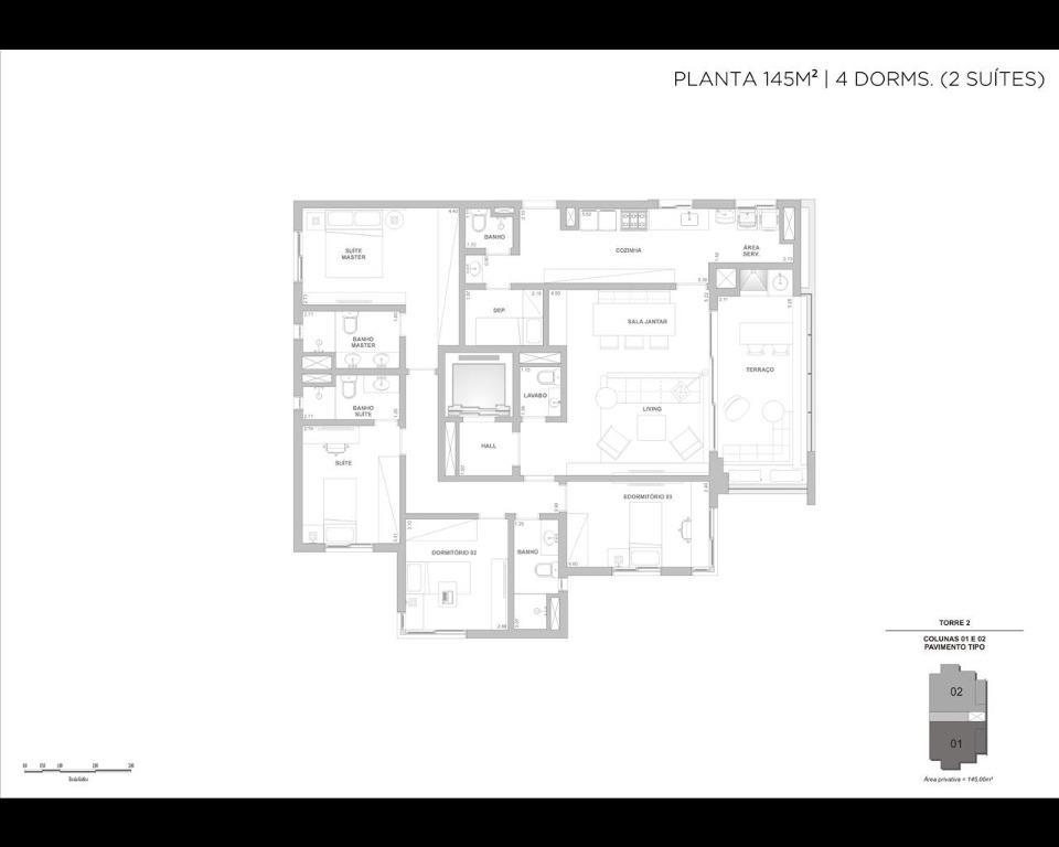Planta 145m² - 4 dormitórios