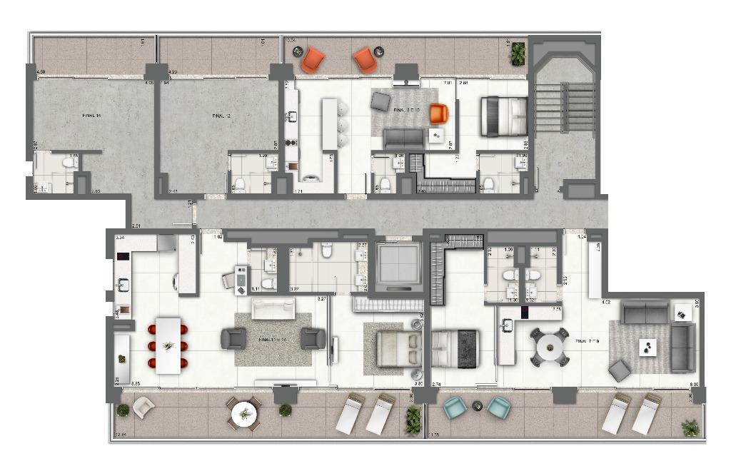 Planta - Junções 1 Dormitório - Pavimento Tipo (Meio Pavimento)