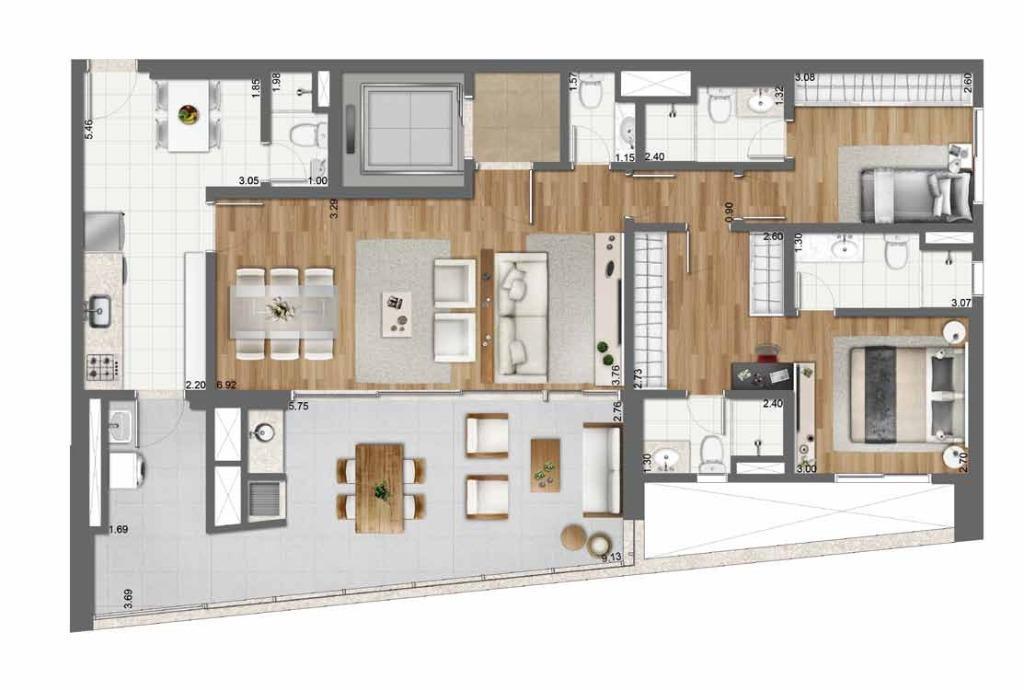 Planta Opção 128 m²