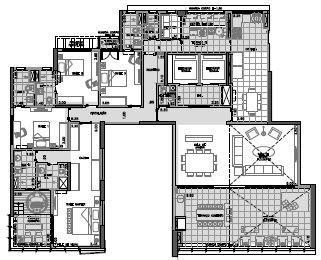 Planta Final 1 andar par - 2º ao 26º - 278,5 m²