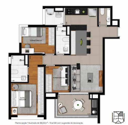 Planta Opção 1 - 88,50 m²