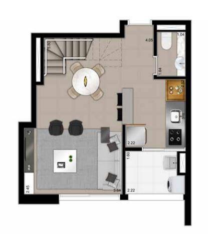 Planta Duplex Inferior Opção - 79,90 m²