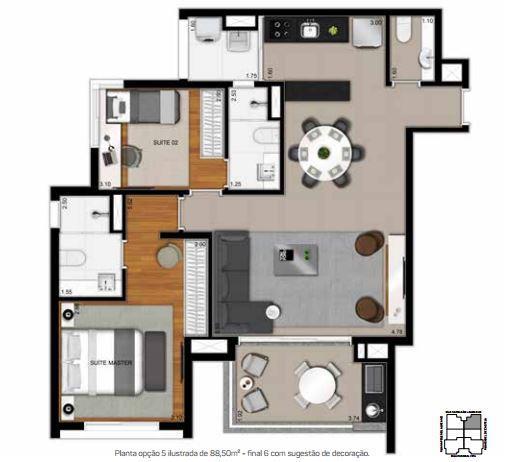 Planta Opção 5 - 88,50 m²