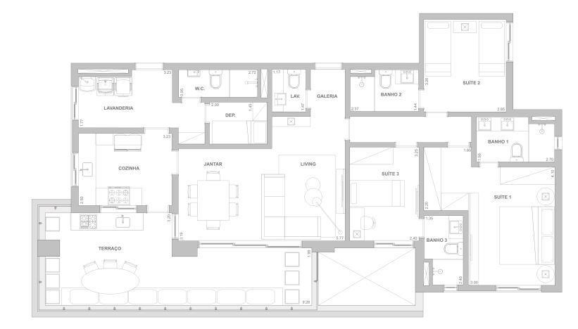 Planta 140 m² - 3 suítes