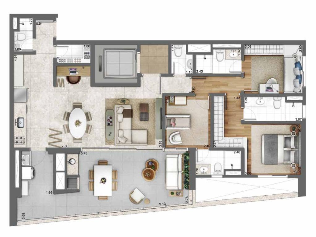 Planta Opção 131 m²