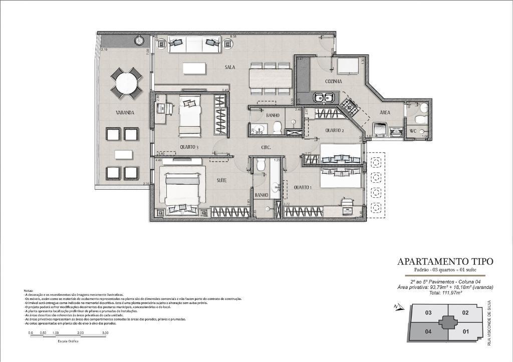 Planta Tipo Final 04 - 111 m²