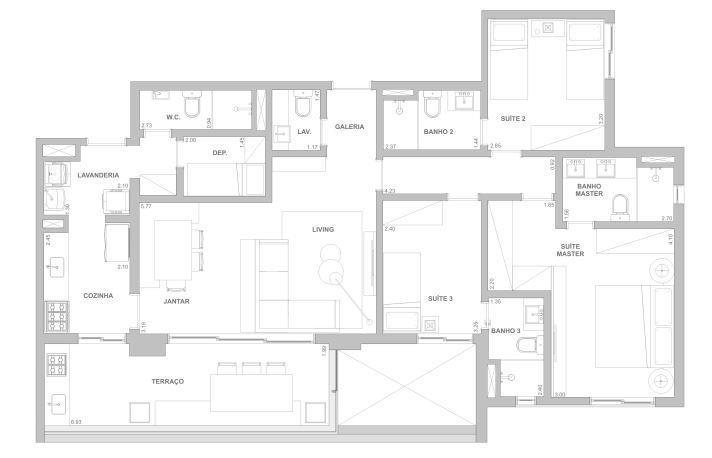 Planta 122 m² - 3 suítes