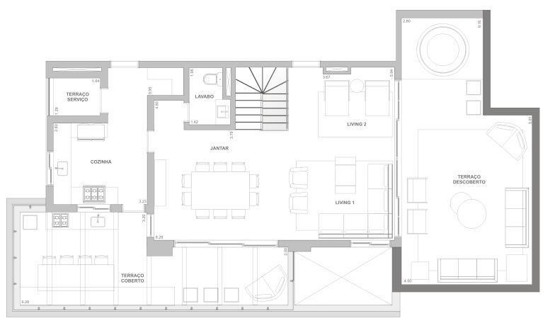 Planta Duplex Inferior - 280 m²