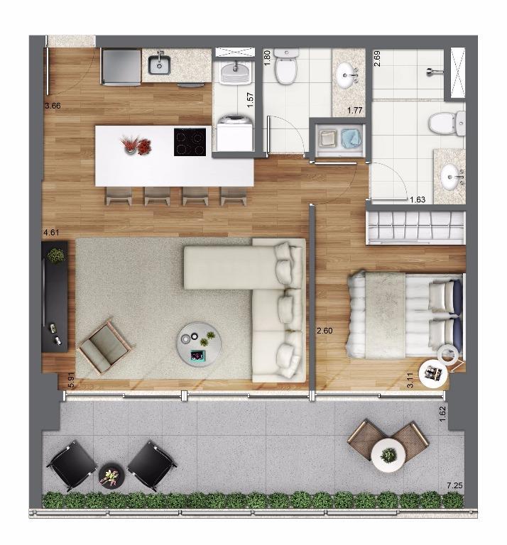 Planta Opção 61 m²