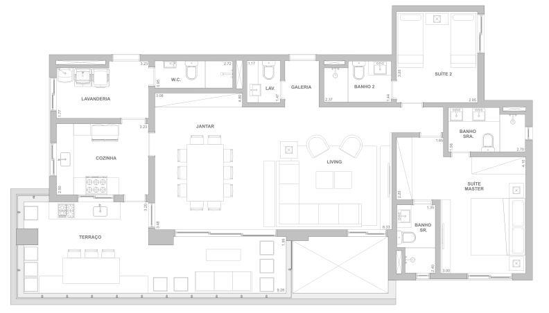 Planta 140 m² - Sala ampliada