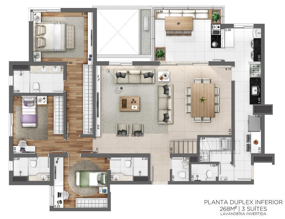 Planta Duplex Inferior - 268 m² - 3 suítes - Lavanderia Invertida