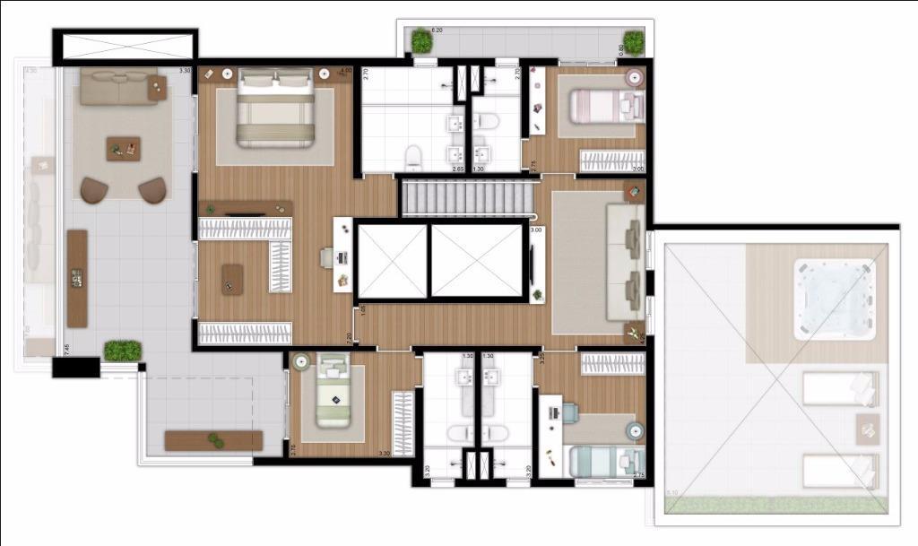 Planta Duplex Superior Rotacionada - 377 m²