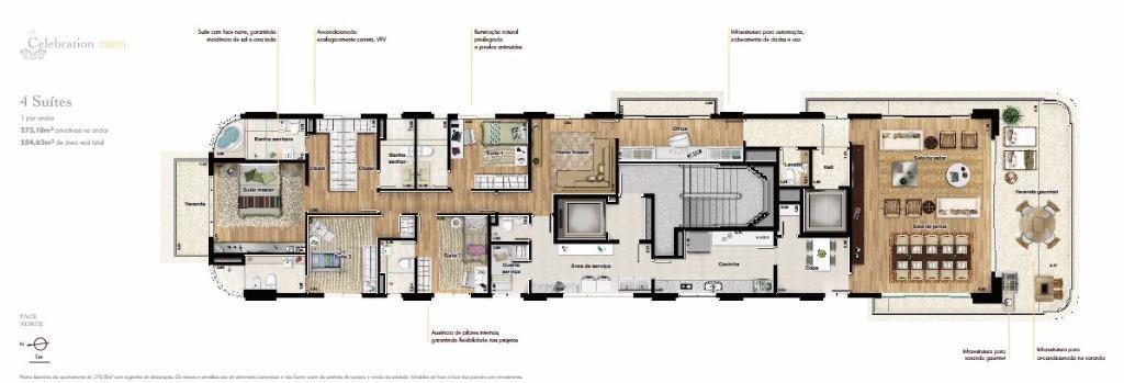 Planta Tipo  4 suítes 273 m²