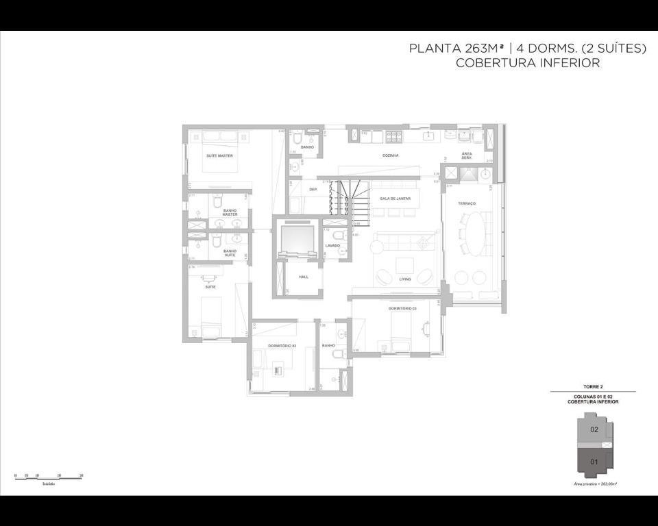 Planta 263m² - Cobertura - 4 dormitórios