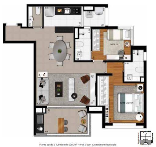 Planta Opção 5 - 90,10 m²