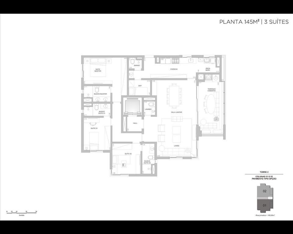 Planta 145m² - 3 suítes