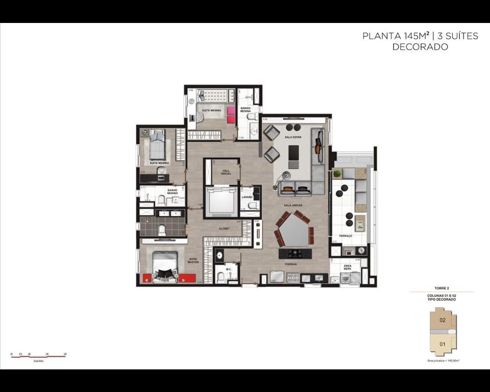Planta 145m² - 3 dormitórios - Decorado