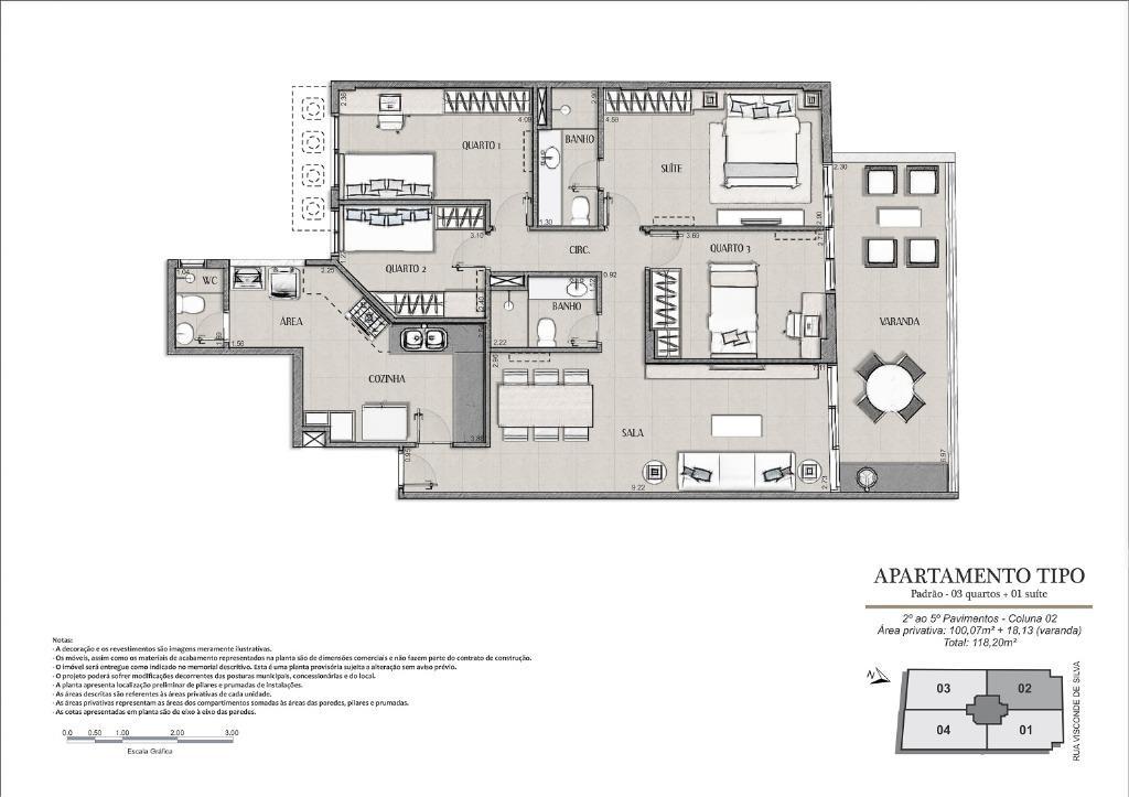 Planta Tipo Final 02 - 118 m²