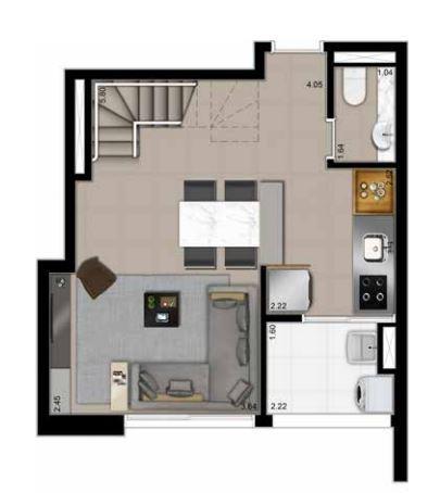 Planta Duplex Inferior - 79,90 m²