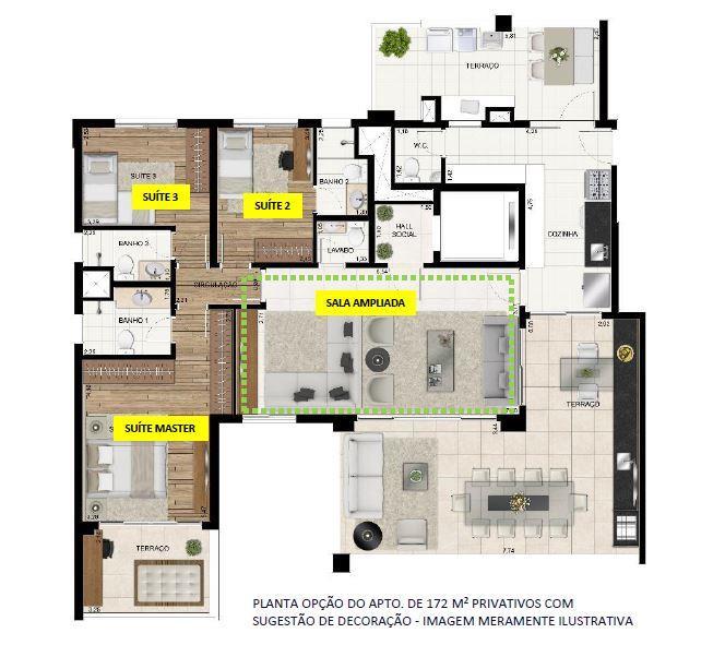 Planta Opção - 172 m²