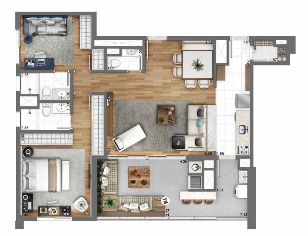 Planta Opção 105 m²