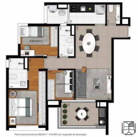 Planta Tipo - Apto 88,50 m²