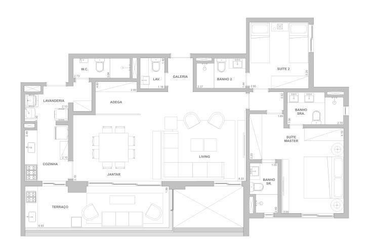 Planta 122 m² - Sala ampliada