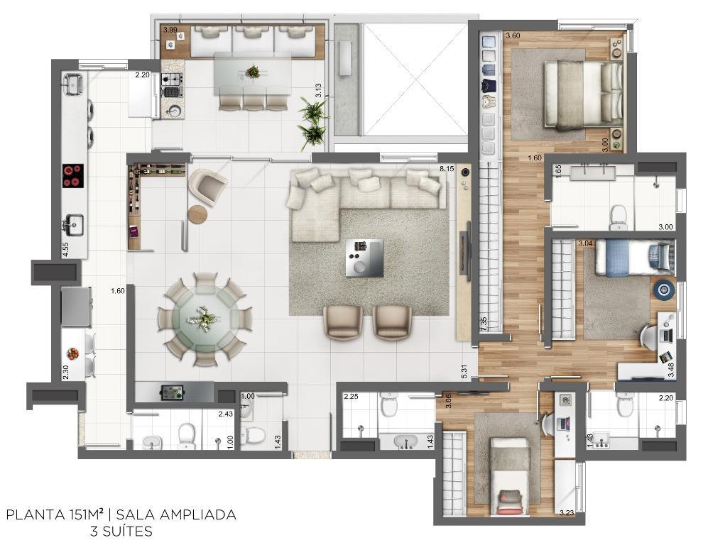 Planta 151 m² - 3 suítes - Sala Ampliada