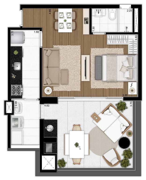 Planta Opção 2 do Apto de 64 m²