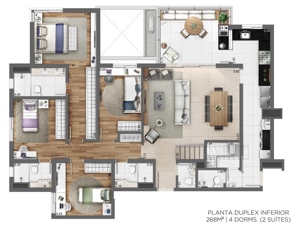 Planta Duplex Inferior - 268m² - 3 suítes