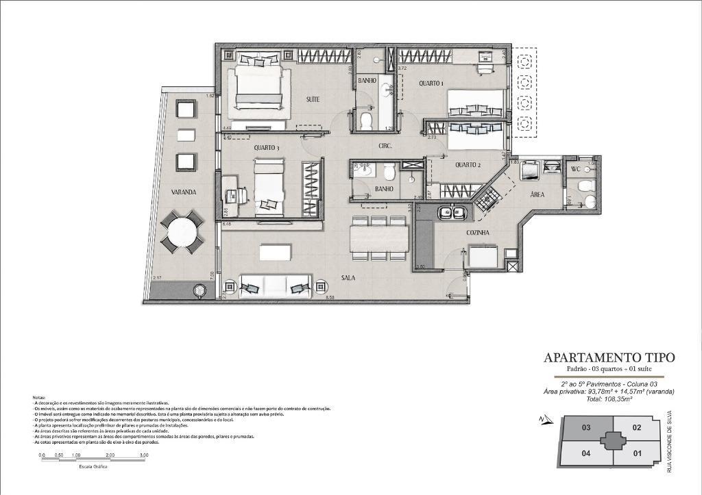 Planta Tipo Final 03 - 108 m²