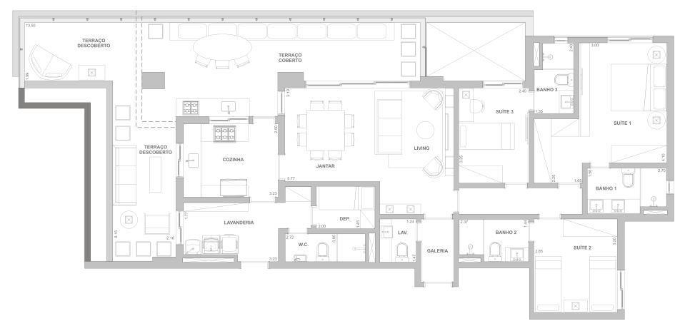 Planta 169 m² - 3 suítes
