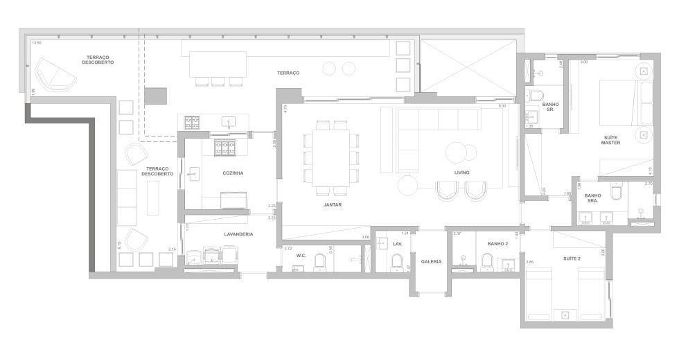 Planta 169 m² - Sala ampliada