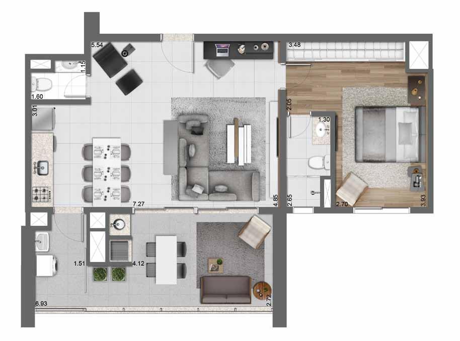 Planta Opção 83 m²