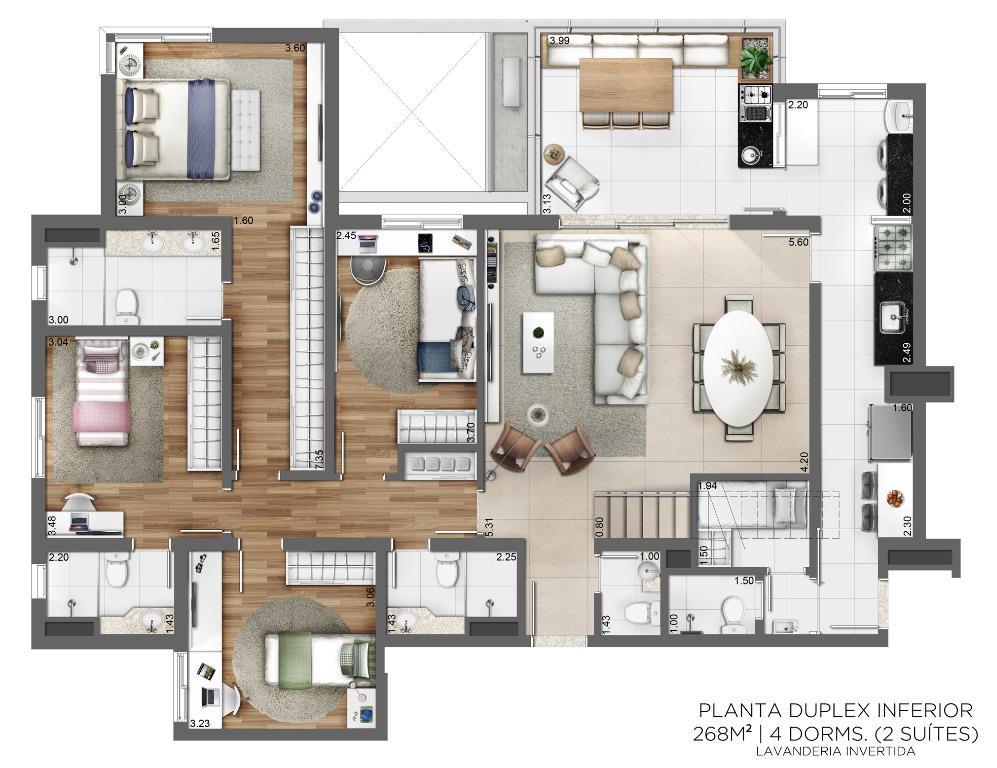 Planta Duplex Inferior - 268 m² - 4 Dormitórios (2 suítes) - Lavanderia Invertida