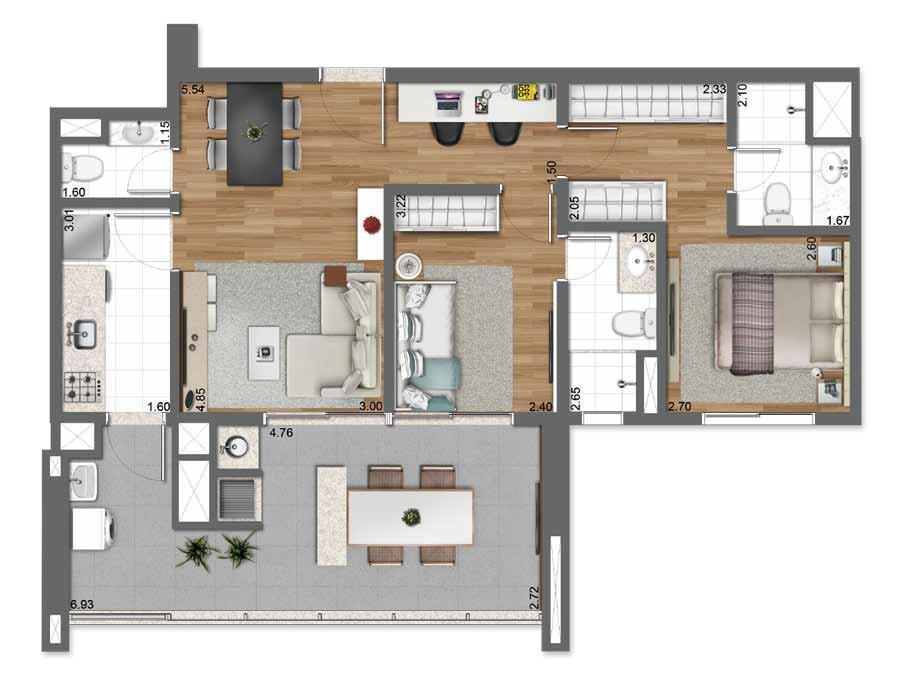 Planta Tipo 83 m²