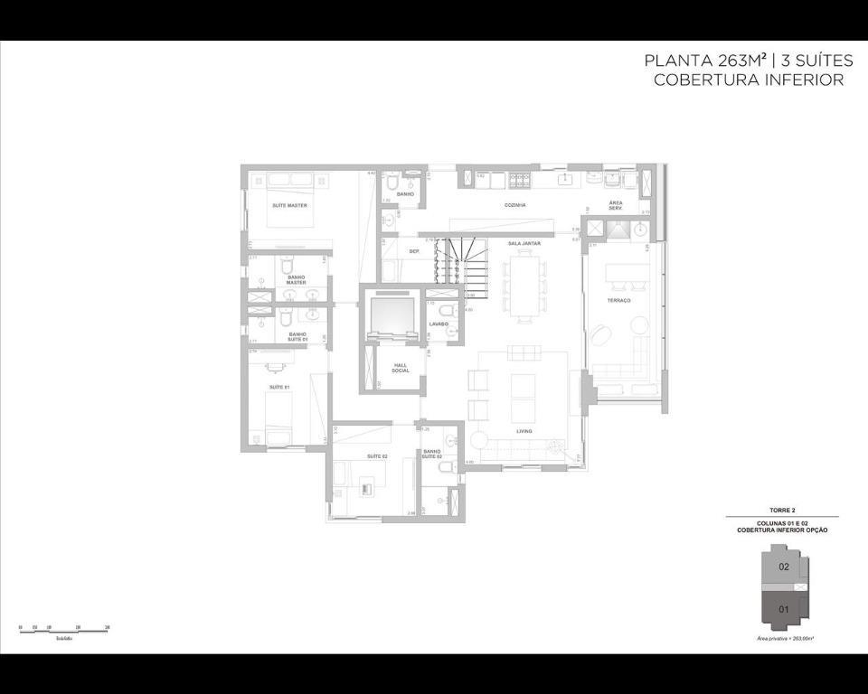 Planta 263m² - Cobertura - 3 suítes