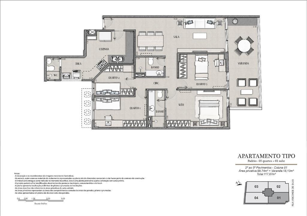 Planta Tipo Final 01 - 117 m²